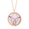 Brooke Leaf Rose de France and Pave Diamond Pendant