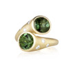 Whirl Green Tourmaline and Pave Diamond Ring