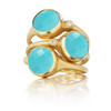 Turquoise and Diamond Accent Stack Ring