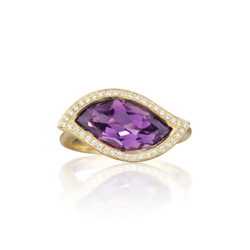 Leaf Amethyst East-West Ring