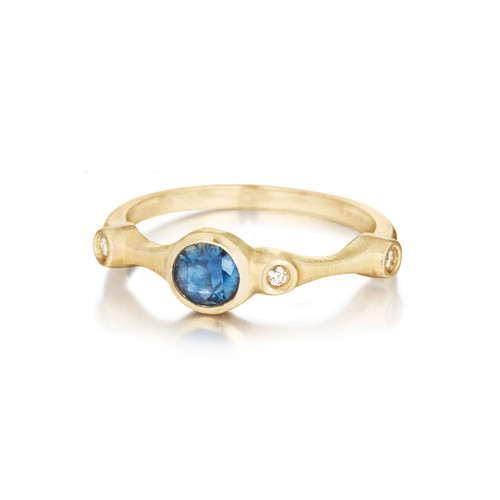 Blue Sapphire and Diamond Trio Stack Ring