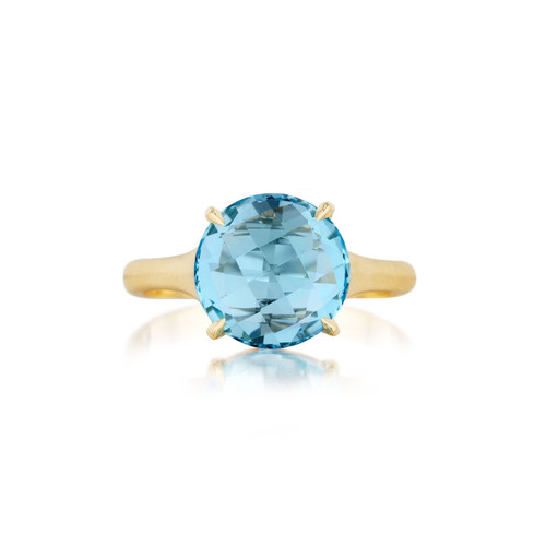 Blue Topaz Signature Ring in Yellow Gold