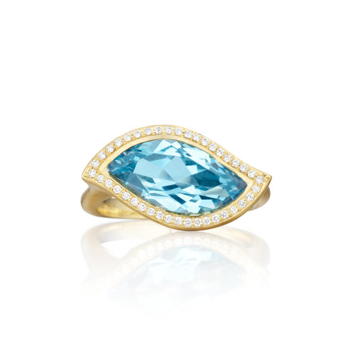Blue Topaz and Diamond Pave East-West Leaf Ring