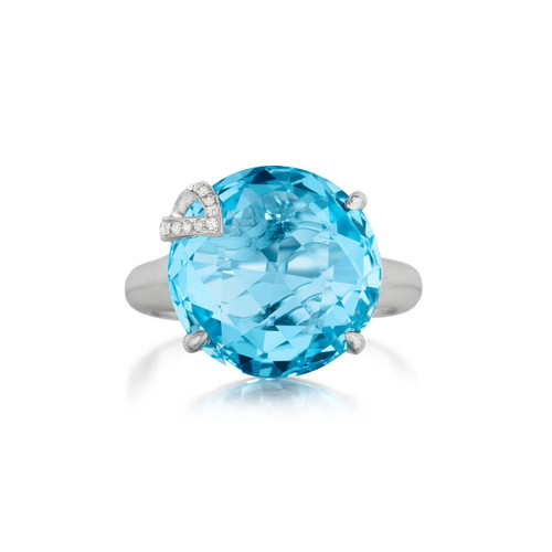 Blue Topaz and Diamond Pave Leaf Signature Ring