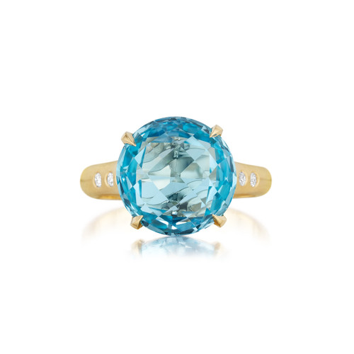 Blue Topaz and Diamond Signature Ring