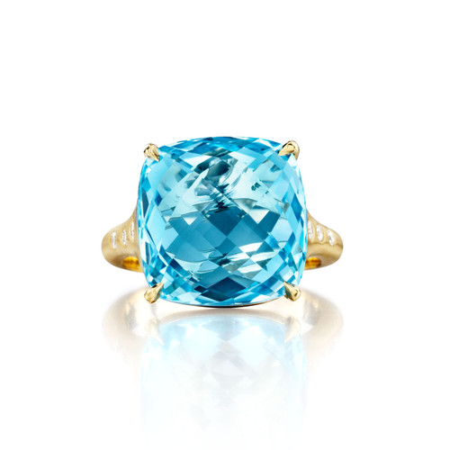 Blue Topaz Cushion And Diamond Signature Ring