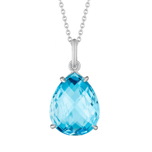Blue Topaz Pear Signature Pendant
