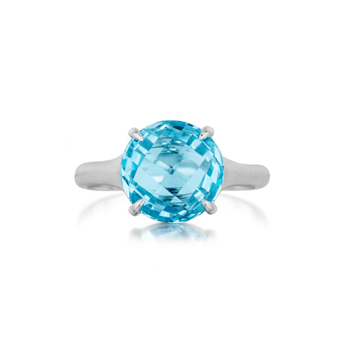 BLUE TOPAZ SIGNATURE RING IN WHITE GOLD