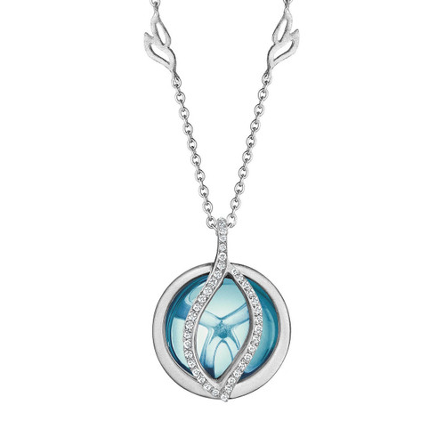 Small Brooke Leaf Blue Topaz and Pave Diamond Pendant in White Gold