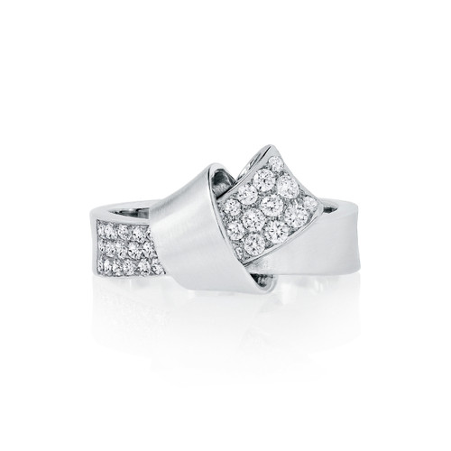 Knot Diamond Ring in White Gold