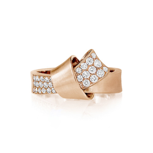 Knot Diamond Ring in Rose Gold