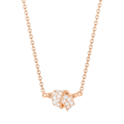 Mini Knot Pave Diamond Pendant in Rose Gold