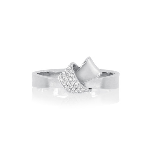 Mini Knot Pave Diamond Ring in White Gold