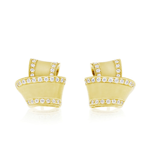 Knot Diamond Trim Stud Earrings