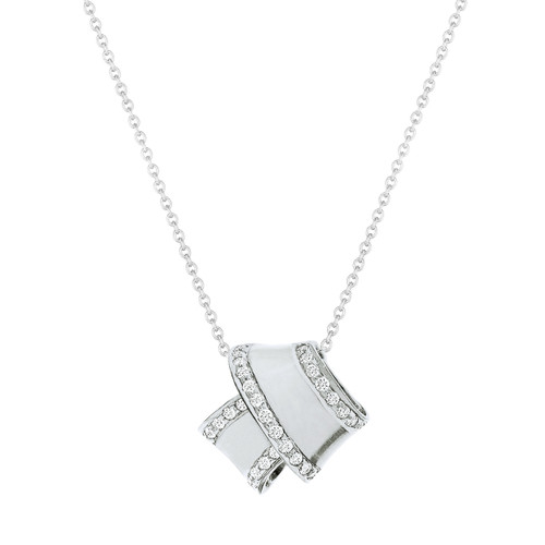 Knot Diamond Trim Pendant in White Gold