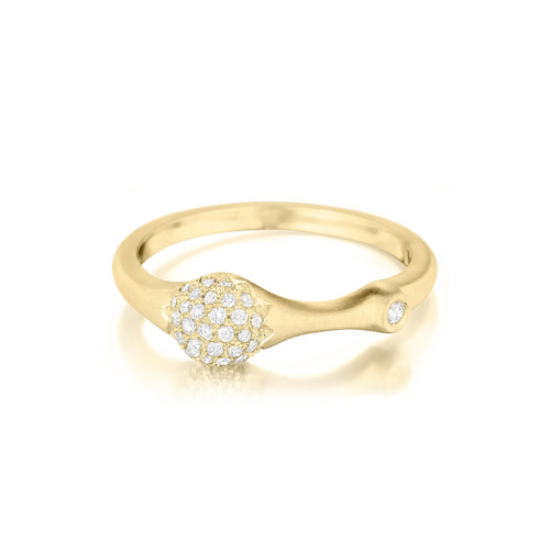 Yellow Gold Pave Diamond Stack Ring