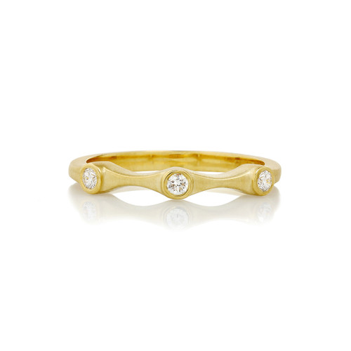 Diamond Three Stone Stack Ring in Yellow Gold