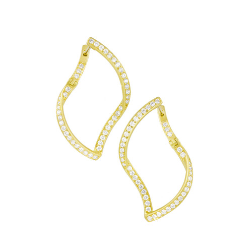 Athena Pave Diamond Single Leaf Earrings