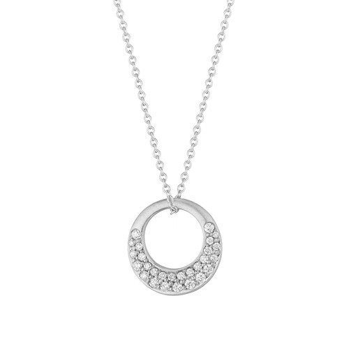 Interlinks Pave Diamond Pendant in White Gold