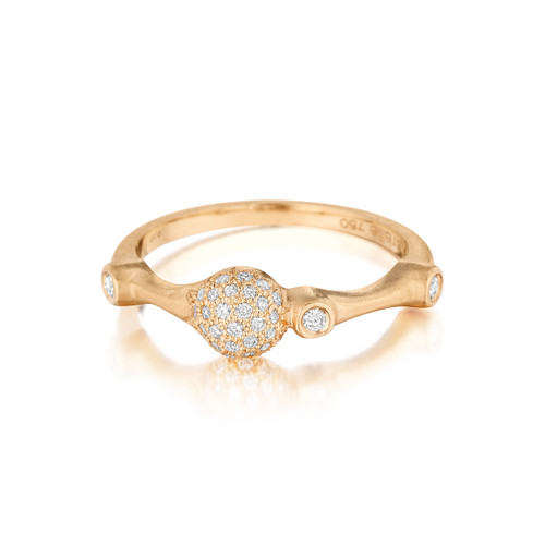 Rose Gold Diamond Trio Pave Stack Ring
