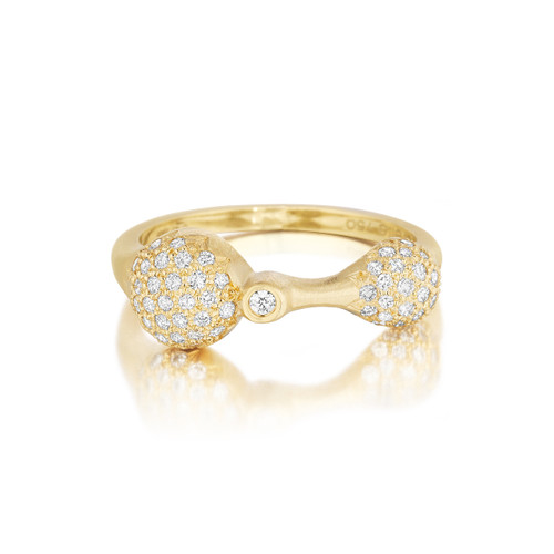 Yellow Gold Diamond Sizzle Duo Stack Ring