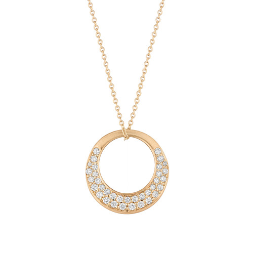 Large Interlinks Pave Diamond Pendant in Rose Gold
