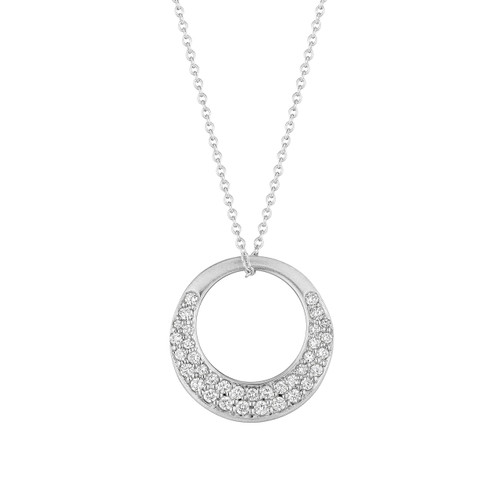Large Interlinks Pave Diamond Pendant in White Gold