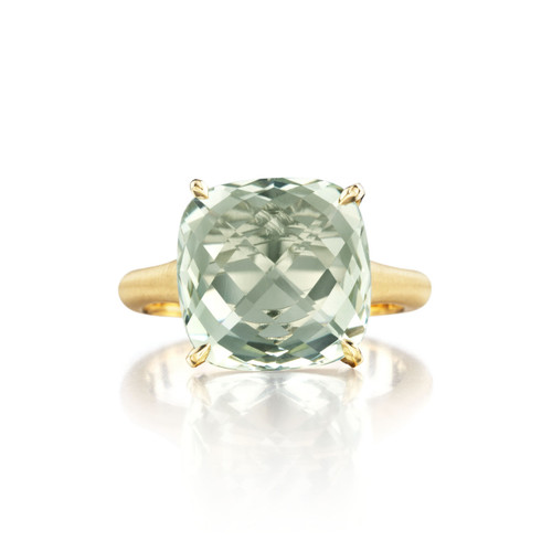 Green Quartz Cushion Signature Ring