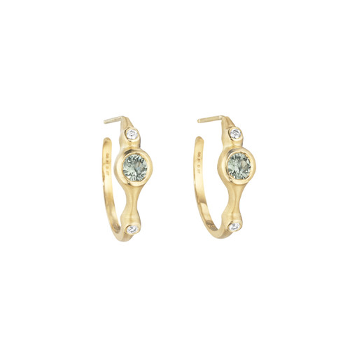 Green Sapphire and Diamond Stack Mini Hoop Earrings