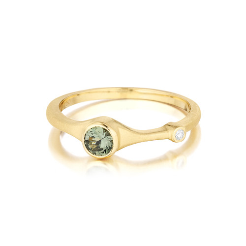 Green Sapphire and Diamond Stack Ring