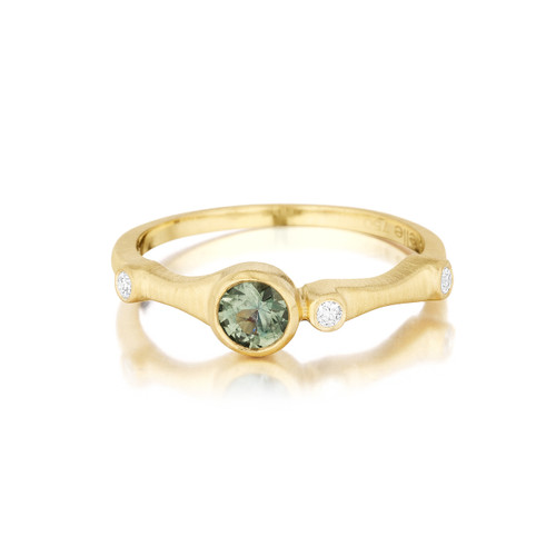 Green Sapphire and Diamond Trio Stack Ring