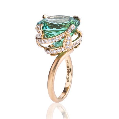 After Dark Green Tourmaline Spiral Ring