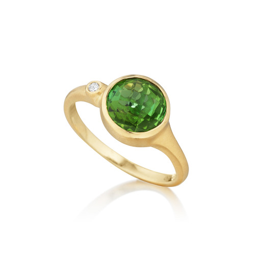 Green Tourmaline and Diamond Accent Stack Ring
