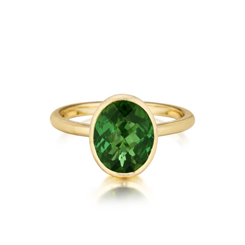 Oval Green Tourmaline Stack Ring