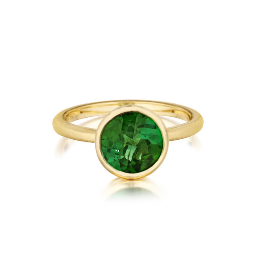 Round Green Tourmaline Stack Ring