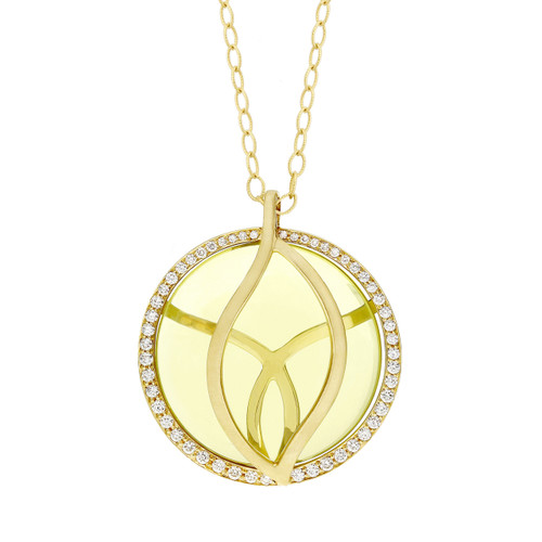 Brooke Leaf Lemon Quartz and Diamond Perimeter Pendant