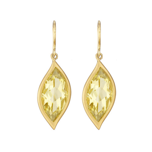 Leaf Lemon Quartz Earrings