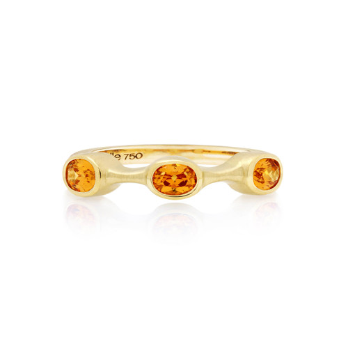 Mandarin Garnet Oval Stack Ring