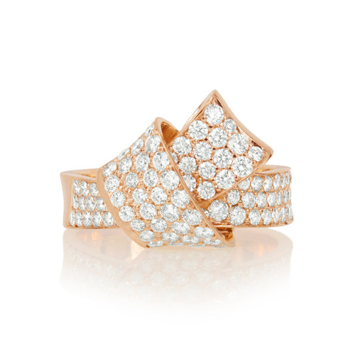 Jumbo Knot Pave Diamond Ring in Rose Gold