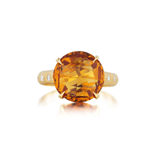 Orange Citrine and Diamond Signature Ring