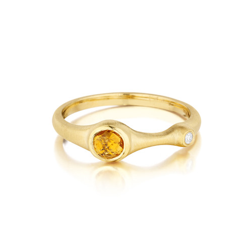 Orange Citrine and Diamond Stack Ring