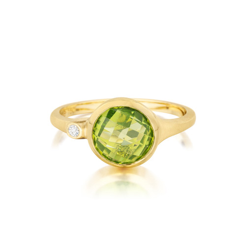 Peridot and Diamond Accent Stack Ring