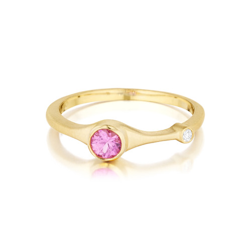 Pink Sapphire and Diamond Stack Ring