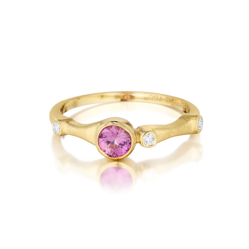 Pink Sapphire and Diamond Trio Stack Ring