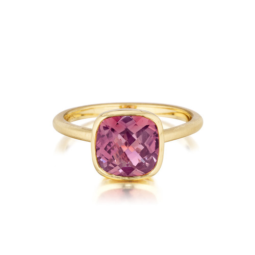 Cushion Pink Tourmaline Stack Ring