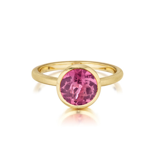 Round Pink Tourmaline Stack Ring