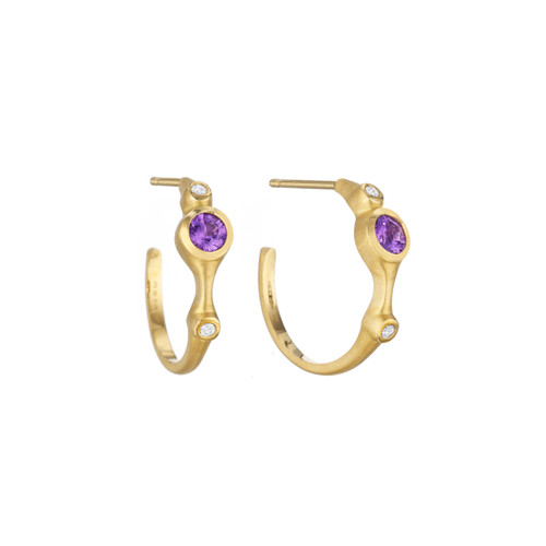 Purple Sapphire and Diamond Stack Mini Hoop Earrings