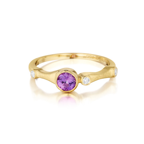 Purple Sapphire and Diamond Trio Stack Ring