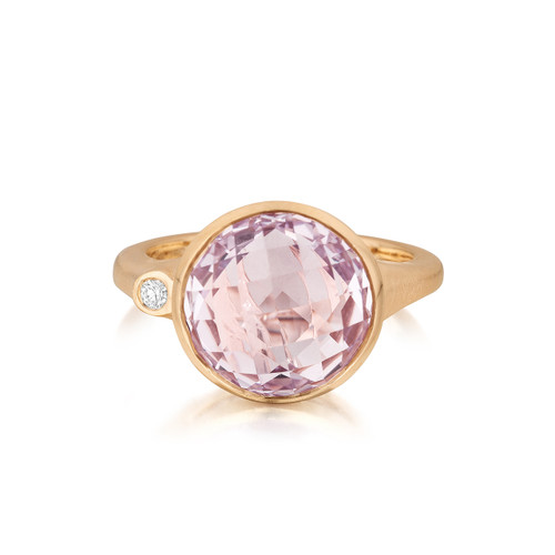 Rose de France and Diamond Large Stack Ring