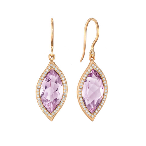 Leaf Rose De France and Pave Diamond Earrings